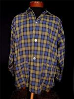 VINTAGE 1950'S COTTON MUSTARD GREEN, BLACK & BLUE PLAID PJ TOP SHIRT SIZE LARGE