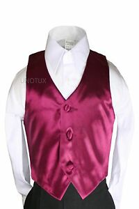 New Satin Vest only for Teen Boy Young Adult Red Black Formal Party Suit Tuxedo