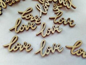 25 Love Wood Die Cuts 25mm Valentines Card Toppers Embellishments Confetti Blank