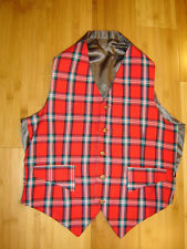 S. Holmes steampunk suit vest plaid red green ivory black 38 C  S