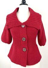 Free People Chunky Knit Peplum Cardigan Sweater Wool Blend Shawl Collar XS Red