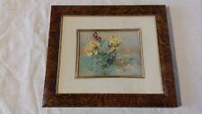 Tableau cadre 21 x 18 cm avec fleurs et papillon