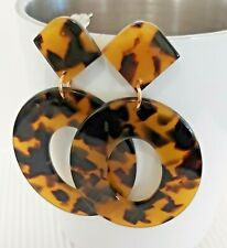 Gorgeous Oval Acrylic Tortoise Shell Design Stud/Drop Earrings
