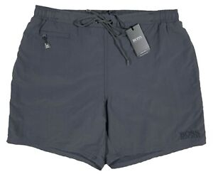 Men's HUGO BOSS Gray Grey Swim Trunks Swimsuit M Medium NWT NEW Leaffish NiCe!