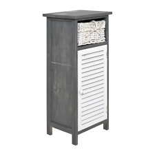 Mobili Rebecca Cabinet Sideboard White Grey 1 Wicker Basket Shabby 74x32x26