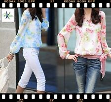 Damen Bluse Shirt Schleife Blume 2016 Rosa Weiss Pink Blau S M L 34 36 38 40 42