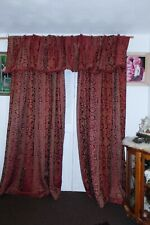 """Vintage Custom Silk Drapery with Valance 80"""" wide x 83"""" Long Pleated Maroon Gold"""