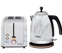 Blaupunkt Marble Effect Kettle And Toaster BREAKFAST SET With Copper Lining