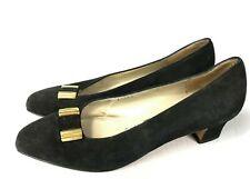 SALVATORE FERRAGAMO Vintage Heels Black Suede Mary Janes Sz 8 B Black Gold Horse