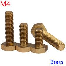 M4 x 0.7mm Solid Brass Hex Head Bolts Hexagon Screws Bolt Hex Tap Bolts  DIN 933