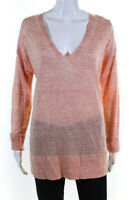 Lafayette 148 New York Womens Linen V-Neck Sedona Sweater Top Peach Size M