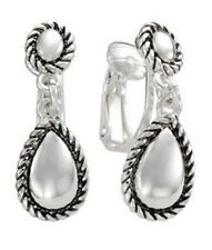 TRIFARI Silver-Tone Teardrop Clip-On Earrings Fashion Jewelry New Carded