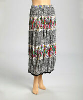 Le Mieux NWT Blk/Wht Floral Crinkle Cotton Skirt Ankle Length,Petite,Plus