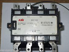 ABB EK 110 Contactor, 4 Pole, 24 Volt Coil, 170 Amp, Used