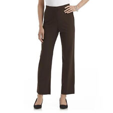 Briggs New York Plus Brown Polyester Blend Slimming Solution Flat Front Pant 18W