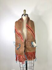 Vintage Brown Red Leather Handmade Fringe Scarf Pockets Shawl Western Cowboy