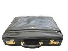 Black Mens Gold Pfeil Sport Brief Case Attache Leather