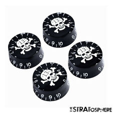 *NEW 4 CONTROL KNOBS for Gibson Les Paul 6mm Shaft Push On Black & White Skull