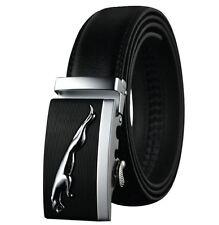 Belts Men's Genuine Leather Belt Black Auto Buckle Car  mens Silver/Black New //