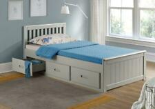Single 3ft Wooden Storage Bed with Drawers - Kids Mission Bed White, Grey, Pine