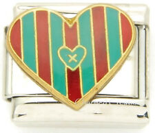 9mm Italian Charm Red And Teal Striped Heart Love Stainless Steel Modular Link