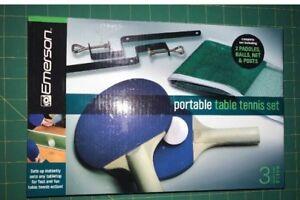EMERSON Portable Table TENNIS Set NEW 2 Paddles 3 Balls Net Posts SHIP FREE
