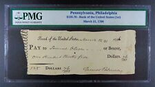 1796 (First) Bank of the United States Bank Check, PMG Genuine.