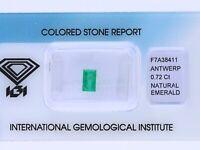 natürlicher 0,72 Karat Smaragd Baguette green IGI Expertise