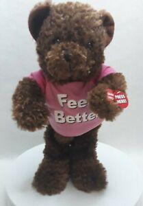 "Chantilly Lane PBC Dancing Teddy Bear Feel Better Plays ""I Feel Good"" 13"" tall"