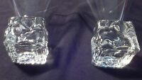 """Set of 2 ICE CUBE BASE  Martini / Cocktail Glasses  5"""" tall & heavy"""
