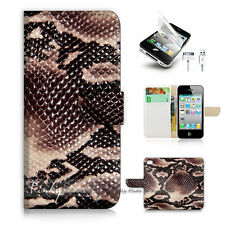 ( For iPhone 5 / 5S / SE ) Wallet Case Cover! Snake Skin Leather P1445