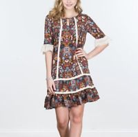 Matilda Jane Size Small Brown Floral Print Lace Trimmed Intermission Dress
