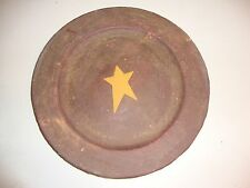 Primitive distressed burgundy STAR decor pottery plate / nice