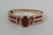 14K Yellow Gold Multi-stone Ruby Ring Vintage, Estate Size 9