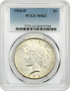 1934-D $1 PCGS MS62 - Peace Silver Dollar