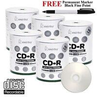 500 Smartbuy 52X CD-R Silver Inkjet Hub Printable Disc + Black Permanent Marker