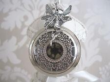 New Angel/Fairy Fantasy Steampunk Goth Silver Quartz Pocket Watch Necklace Gift