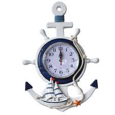 OULI Anchor Clock Beach Sea Theme Nautical Ship Wheel Rudder Steering WheelDecor
