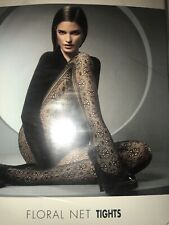 Wolford Floral Net Tights Fishnet Pantyhose Size: Small Color MOCCA 19049 - 20