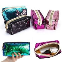 Lady Mermaid Sequin Pencil Case Cosmetic Makeup Bag Coin Pouch Toiletry Storage