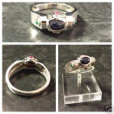 Harry Ivens IV Saphirring Silberring mit Rubin und Smaragd 925er Silber Ring