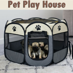 Portable Pet Cage Folding Tent Outdoor Dog House Octagon Indoor Playpen Puppy