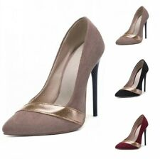 Europe Pattern Ladies Evening Cocktail Pointy Toe Stilettos Heel Slip On Shoes D