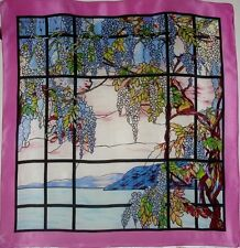 ViNtAgE MMA MUSEUM TIFFANY STAINED GLASS HUDSON RIVER FLORAL SILK SCARF JAPAN