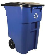 Rubbermaid Commercial Heavy Duty Recycling Container With Wheels 50 Gallon Blue
