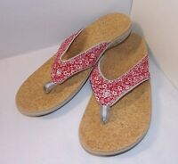 Red Floral Flip Flop Sandals Size 11 Spenco Total Support YUMI Womens EUC