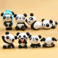 8pcs/Set Panda Cute Figure Toy Home Decoration Statue Xmas Gift lovely
