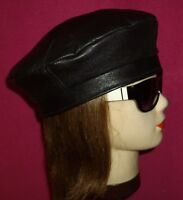"NO BRAND,H MADE FROM RECYCLE BLACK LEATHER BERET HAT,SIZE 23.1/8"" INCHES 58.07CM"