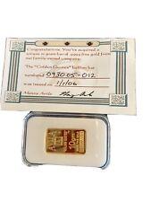 """10 Gram 999.9 Gold Bar Sealed """"Golden Quotes"""" Ben Franklin"""