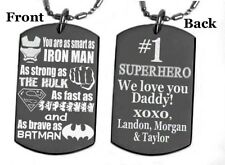 SUPERHERO #1 DAD dog tag Necklace or Key chain + FREE ENGRAVING